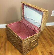 **Large Vintage Wicker Picnic Basket w/ Side Handles Ruffle Gingham Liner Brass