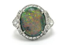 Platinum Halo Cocktail Ring Oval Gem Stone Black Opal Halo Diamond Art Deco Dome