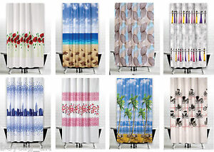 Fabric Bathroom Shower Curtain Extra Long & Wide In 3 Sizes, Different Patterns