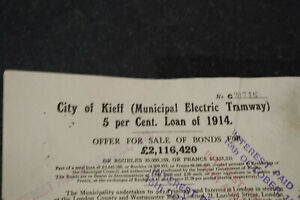 Kieff Kiev Kyiv Tramway scrip interest 1914 bond certificate Russia Ukraine £20
