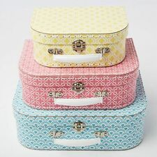Sass & Belle Set of 3 Moroccan Geometrics Blue Pink Yellow Suitcases Storage