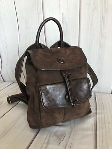 Vintage Liz Claiborne Leather & Co Mini Sueded Leather Backpack DRK Brown Unique