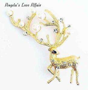 Christmasy Weihnachten Xmas Gold Faux Pearl Crystal Deer Buck Hirsch Brosche Pin