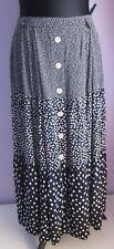 VTG Ladies BARDEHLE Navy/White Polka Dot Tiered Button Through Skirt Size 12(55f