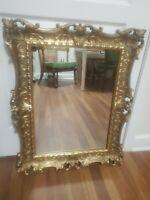"""Vintage Syroco Hollywood Regency Gold Gilt Ornate Framed Wall Mirror 28.5""""x22.5"""""""