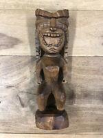 Vintage Polynesian Wooden Tiki Statue Hand Carved Tribal Hawaiian
