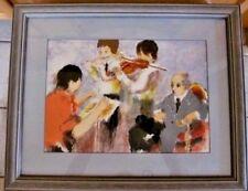 Vintage Musicians Lesson~SIGNED URBAIN HUCHET~Artist's Proof 39/70 Framed,Matted