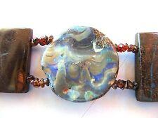 "Sterling silver & boulder opal bracelet, 7"" - 8"" wrist, 175 carats"