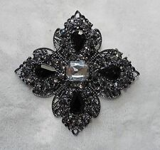 BLACK CHROME PLATED PIN BROOCH WITH BLACK RHINESTONES # 76 FREE SHIPPING IN USA