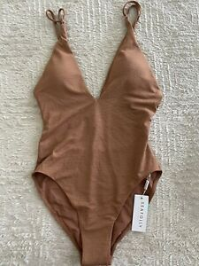 NEW Seafolly Stardust Deep V Neck Maillot One Piece Bronze Swim Bikini Size 12