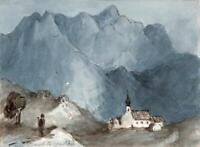 BERCHTESGADEN LANDSCAPE GERMANY Small Watercolour Painting c1830 - GRAND TOUR
