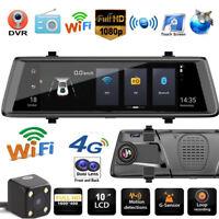 10'' 1080p Android GPS Car DVR Camera Dual Lens 4G WiFi Rearview Mirror Cam ADAS