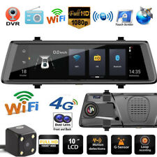 10'' 1080p Android GPS Car DVR Camera Dual Lens 4G WiFi Rearview Mirror Cam