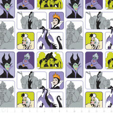 Camelot Fabric Disney Villains Wicked Women in White PER METRE Licensed Film Tv