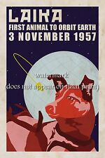 Soviet Space Propaganda Poster Canvas Print 8x10+1'' Border DOG LAIKA IN ORBIT#2