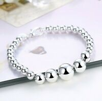 "Bubble Beaded PearlSilver Ball Bracelet 18K White Gold Plated 7.8"" ITALY"