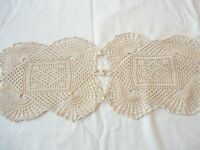 "Doily /Table Runner / Dresser Scarf Hand Crochet Ecru 41"" x 8 1/2"""