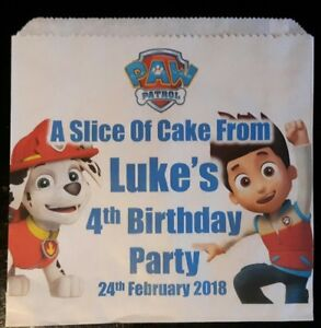Personalised Paw Patrol White Cake / Party Bags