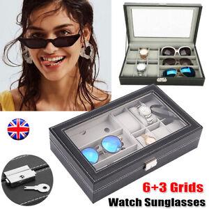 Watch Box Sunglasses Organizer 6+3 Grids Mens Jewelry Display Glass PU Leather