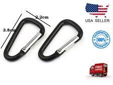 2PCs Aluminum Alloy D Carabiner Spring Snap Clip Hooks Keychain Climbing Outdoor