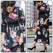 3e3ae04f1788 Zara Floral Print Midi Dress High/mandarin Collar Cinched Waistline Black S