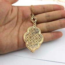 Cut Off Gold Filigree Quatrefoil Statement Long Chain Clover Pendant Necklace