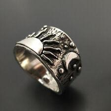 Punk Sunrise Jewelry Moon Size 5-11 Women Men Fashion 925 Silver Wedding Rings