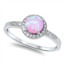 Halo Wedding Engagement Ring Round Created Opal CZ Sterling Silver Choose Color