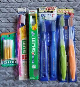 Lot Of 6 Vintage Butler Gum Toothbrush Soft 461 411 354 Medium 433/ 3 Proxabrush