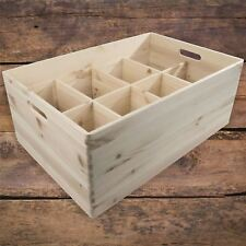 Extra Large Wooden Open Storage Box / Handles & Removable Compartments / Craft