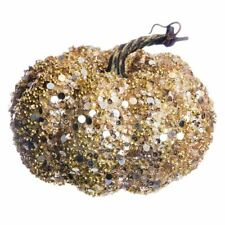 SPARKLY PUMPKIN LARGE  DECORATION GOLD/SILVER TONE
