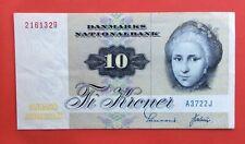 Danemark - Très Joli  billet de 10 Kroner 1972 préfixe A3 plus rare