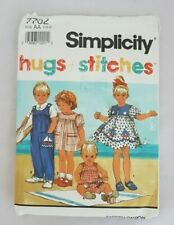 VINTAGE SIMPLICITY #7702 PATTERN 'hugs & stitches' Toddler Dress/Overalls  c1991