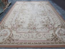 Old Hand Made French Design Wool Beige Brown Pink Original Aubusson 372X270cm