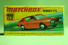 Modellauto - Matchbox - Superfast - Nr. 62 Renault 17 TL - 9 Label - OVP