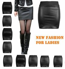 New Womens Black Pvc Wet Leather Look Mini Pencil Bodycon Skirt Size 6-26 Wtsw