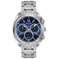 Bulova Curv Men's Chronograph Blue Dial Quartz Bracelet 43mm Watch 96A185