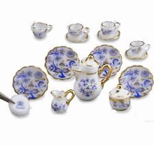 Coffee Tea Set/4 Blue Onion1.363/6 Reutter DOLLHOUSE Miniature