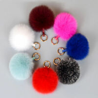 100% Real Fox Fur Pompom Keychain Ball Fur HandBag Pendant Charm Bag Car Keyring