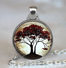 Women/Men Glass Cover Vintage Art Pendant Silver Chain Necklace Keynote AU5