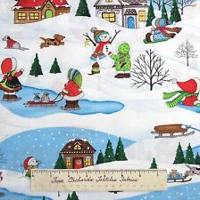 Snow Babies Snowman Winter Cabin Scene - South Sea Imports Cotton Fabric YARDS