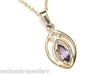 "9ct Gold Amethyst Marquise Pendant Necklace and 18"" Chain Gift Boxed Made in UK"