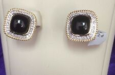 Gold  Rope motif  Onyx/Black with White diamonds halo Earrings in 14k gold