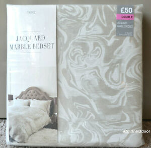 NEXT DOUBLE DUVET COVER JACQUARD LUXURIOUS MARBLE BEDSET 452 NEW