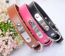Leather Pets Dog Cat Puppy Collar Neck Buckle Adjustable Neck Leash Strap Collar