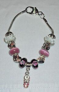 European Bracelet Pink Rhinestone Shoe Heart Charms Heart Closure Mother's Day