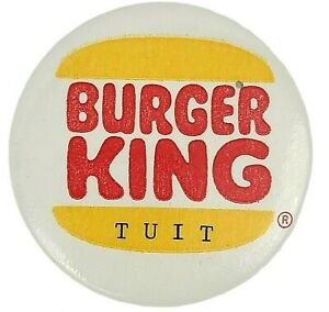 """Vintage Burger King Tuit Pinback Button Badge Pin 2 1/4"""" Red Yellow Advertising"""