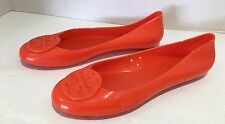 Authentic TORY BURCH Jelly Reva Logo Flat Shoes Orange Ballet Slip On