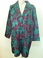 XL X 1X 2X woman blazer coat long stretch purple green floral long sleeve size