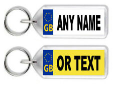 Personalised GB Registration / Number Plate Keyring -Any Name /Text *Great Gift*